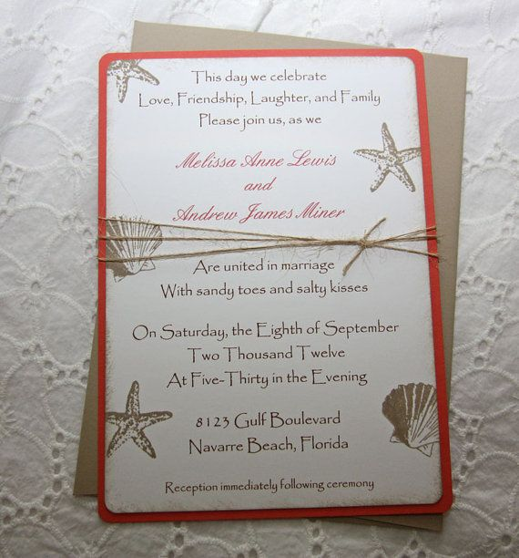 Beach Wedding Invitations. Replace the red backing paper with blue.