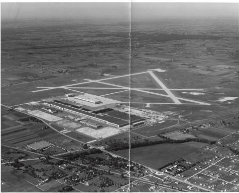 ORCHARD DOUGLAS FIELD BETTER KNOWN AS OHARE AIRPORT 1943 The airport was constructed in 1942–43 as a manufacturing plant for Douglas C-54s during World War II.[11] The site was chosen for its proximity to the city and transportation.[11] The two million square foot (180,000 m²) factory needed easy access to the workforce of the nation's then-second-largest city, as well as its extensive railroad infrastructure. Orchard Place was a small nearby farming community.[11]