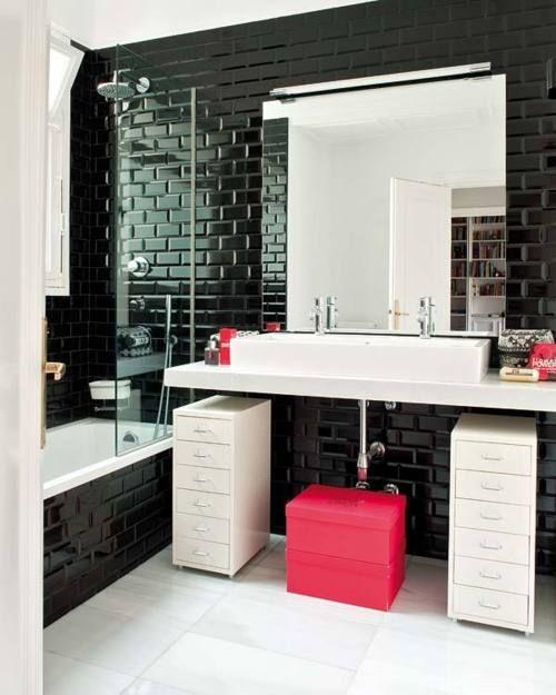 Gloss black walls, smooth white floors. Bathroom. Tiles.