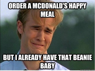 McDonalds, fast food, happy meals, toys, beanie babies, 1990s, 90s