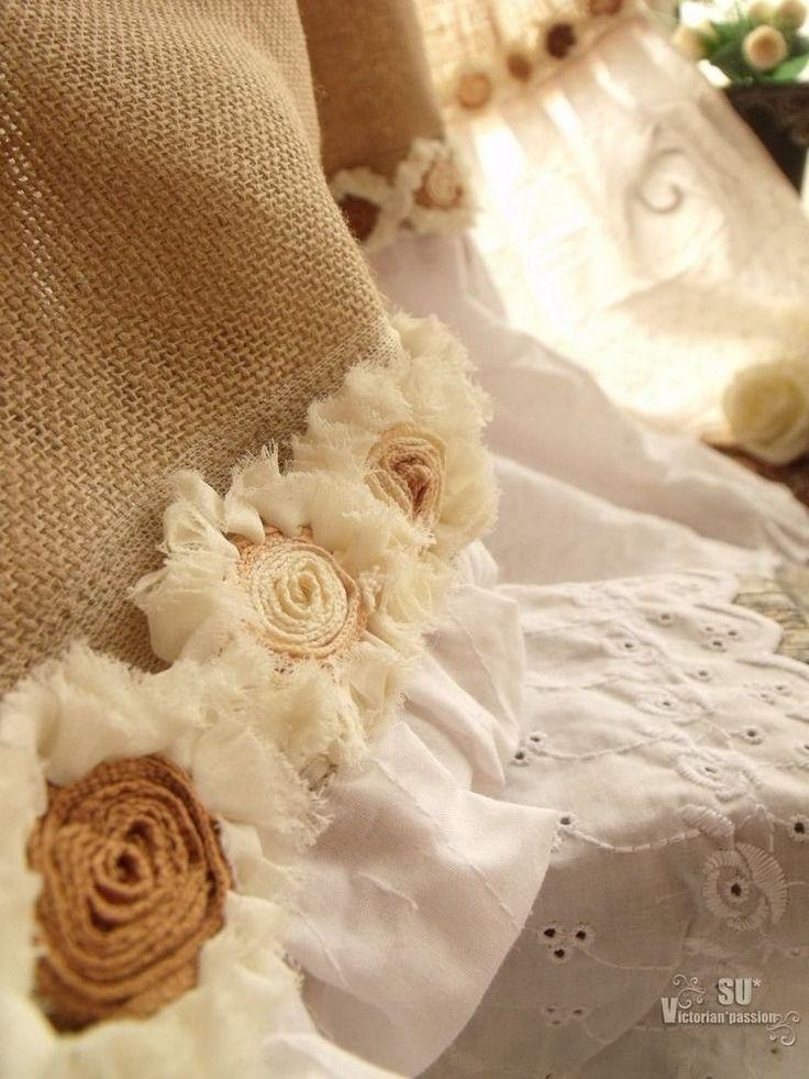 Eyelet Ruffles! SHABBY Rustic Chic Burlap SHOWER Curtain ROSETTE White Farmhouse | Home & Garden, Bath, Shower Curtains | eBay!