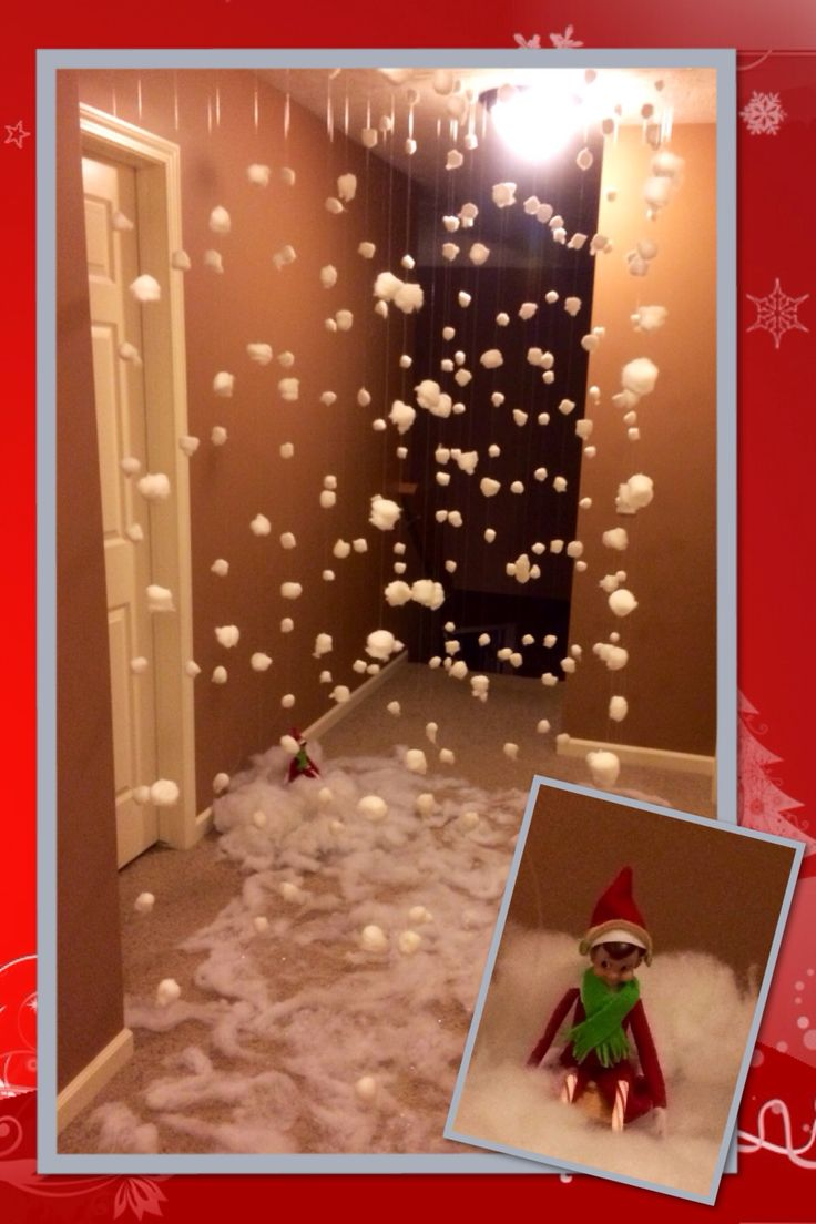 Elf on the shelf makes it snow! Our house is a snow globe