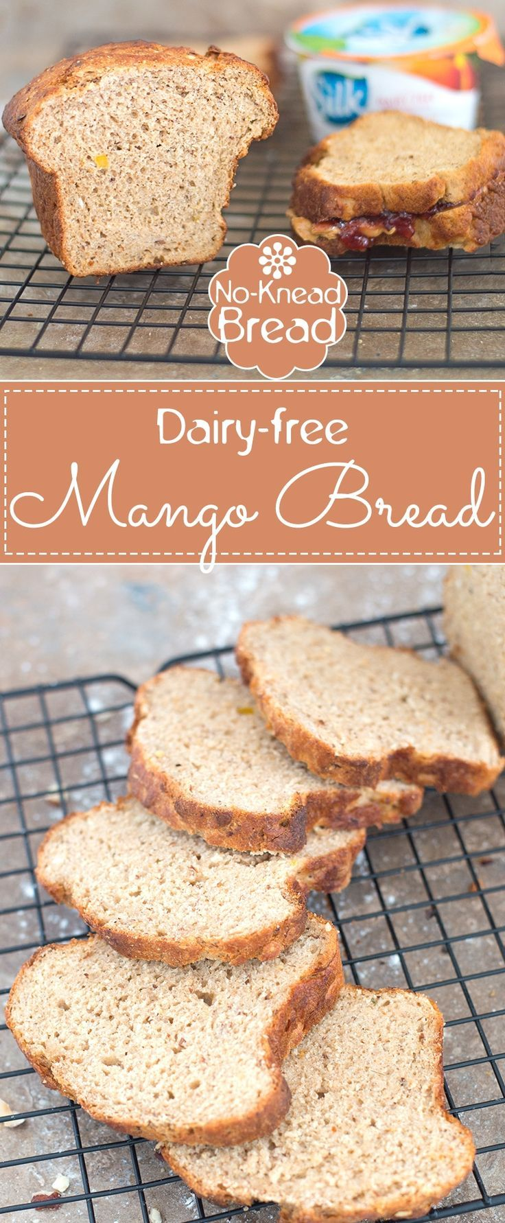 Whole Wheat Mango Bread is Very Easy to Make. Used Dairy Free Yogurt to make this Very Soft and Moist Bread. Turn Ripe Mangoes into Pulp and This Bread Will Have an Amazing Aroma | Dairy-free baking, dairy-free bread, no-knead bread, homemade bread, whole wheat recipes #ad #DairyFreeGoodness