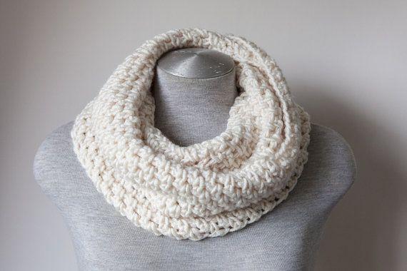 Creamy Beige Crochet scarf chunky infinity scarf in by SweetMaya, £28.00