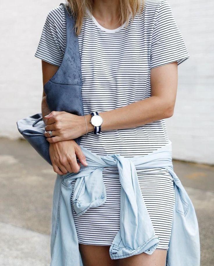 striped dress, denim shirt, daniel wellington watch