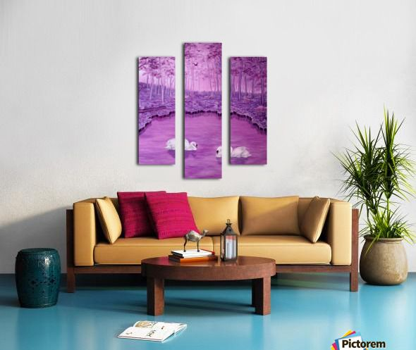 Spring, landscape, forest, lake, swans, purple, violet, mauve, fine art, oil painting, decor items, Triptych, 3 split, stretched, canvas, multi panel, prints, for sale