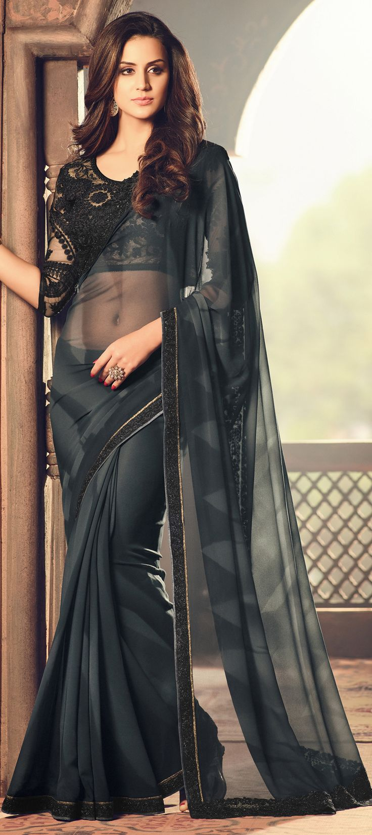 748854 Black and Grey color family Embroidered Sarees, Party Wear Sarees in Faux Chiffon, Georgette fabric with Lace, Machine Embroidery, Stone, Thread work with matching unstitched blouse.