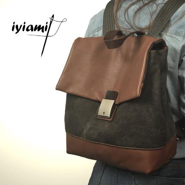 Handmade backpack,stonewashed canvas- leather ,named ORESTIS by iyiamihandbags on Etsy