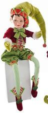 """Katherine's Collection 27"""" Noel Cirque Poseable Christmas Elf Doll Green Hat"""