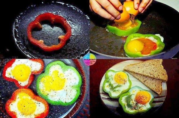 ei met een paprika Jasje.  Foto gevonden via facebook, maar lijkt mij heel lekke rom eens na te maken voor bijvoorbeeld ontbijt of brunch