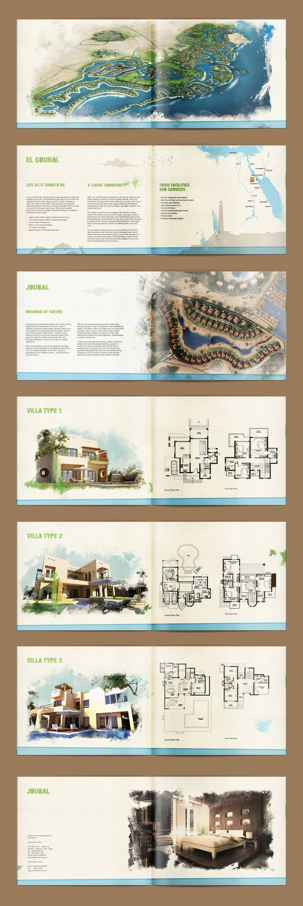 GOUNA and JOUBAL brochures. by mohamed rifky, via Behance
