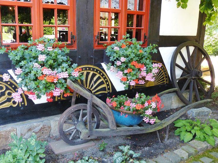 Pelargónie, Květiny, Vozík, Trakař, Kolo, Okno, Zahrada