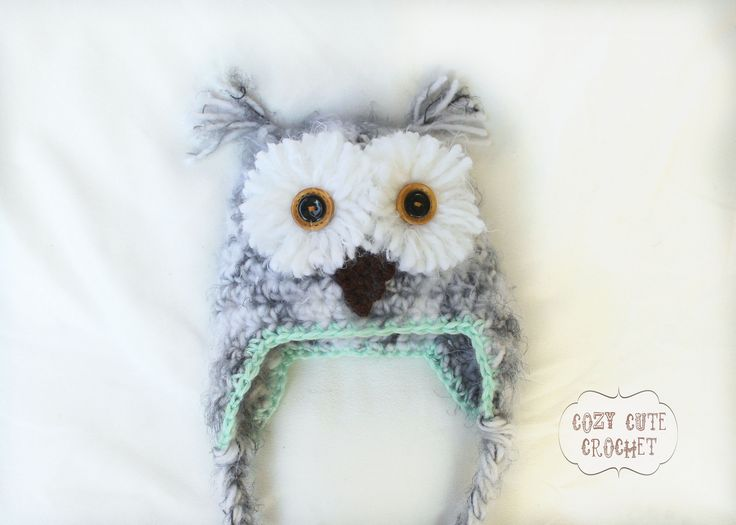 Crochet Pattern For Pikachu Doll : Ravelry: Snowy Owl Hat Crochet Pattern by Cozy Cute ...
