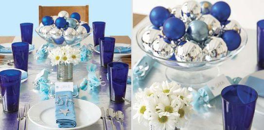 Una delle accoppiate di colori più riuscite per Natale è il blu con l'argento. Eccovi diverse idee per addobbare la tavola natalizia con decorazioni, candele, addobbi e fantasia!