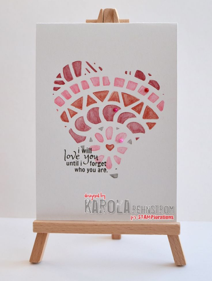 InvisiblePinkCards: handmade Valentine's Day card using STAMPlorations stamps and stencils