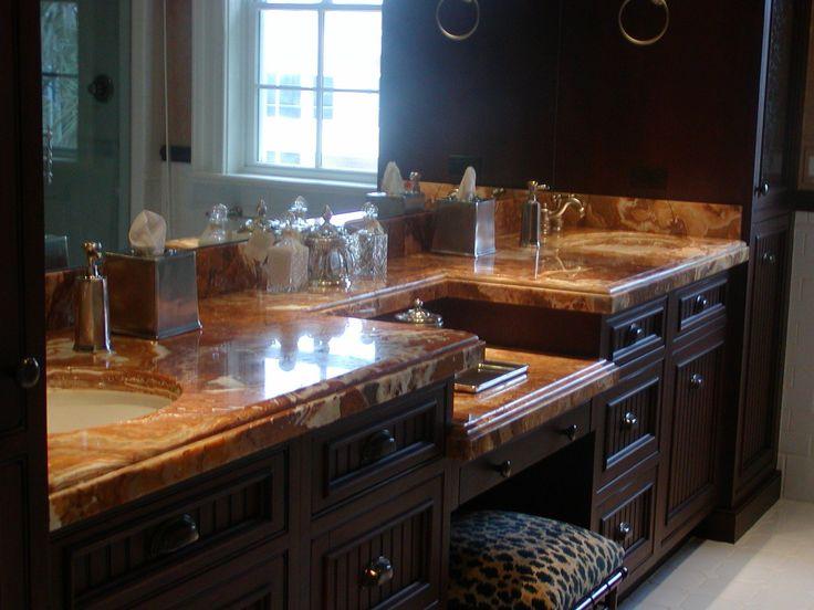 Beautiful Brown / White / Tan Granite Bathroom Vanity with Seat, Dual  Undermount Sinks, - 28 Best ADP Granite Bathroom Countertops And Vanities Orlando