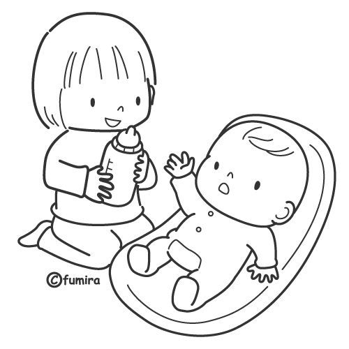 Girl with a baby free coloring pages | Coloring Pages