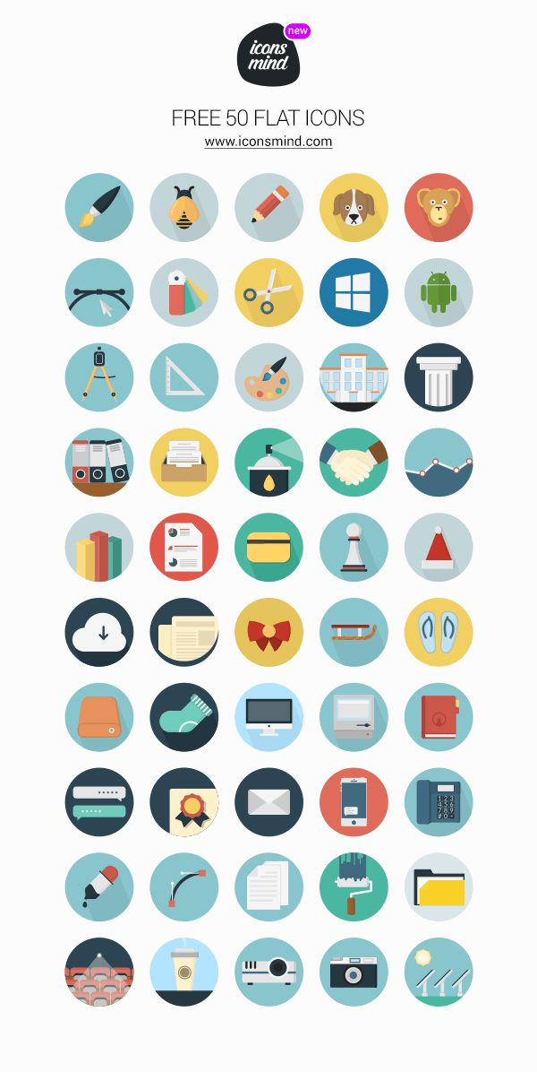 Today's freebie is a new set of 50 flat round icons to add to your design library. These icons are customizable...