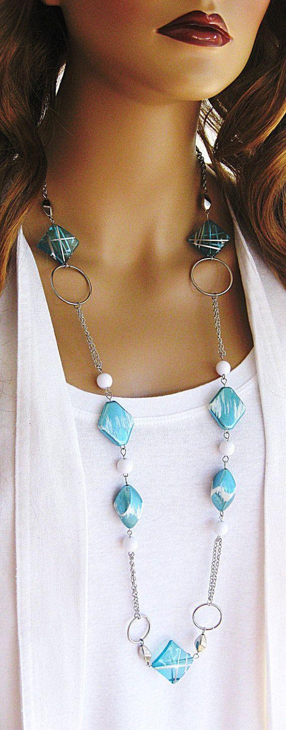 Lungo la luce blu con bordino collane collane di RalstonOriginals