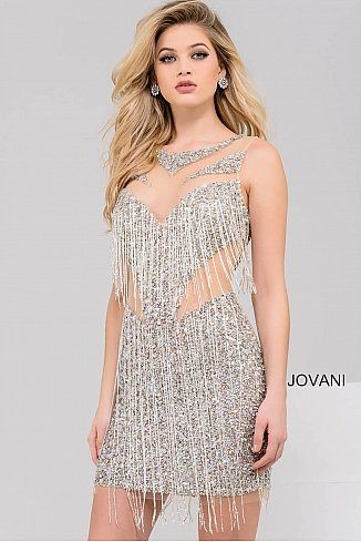 148801bf Silver and Nude Beaded Short Fringe Dress 41058 #Jovani #FringeDress  #Cocktail #Party