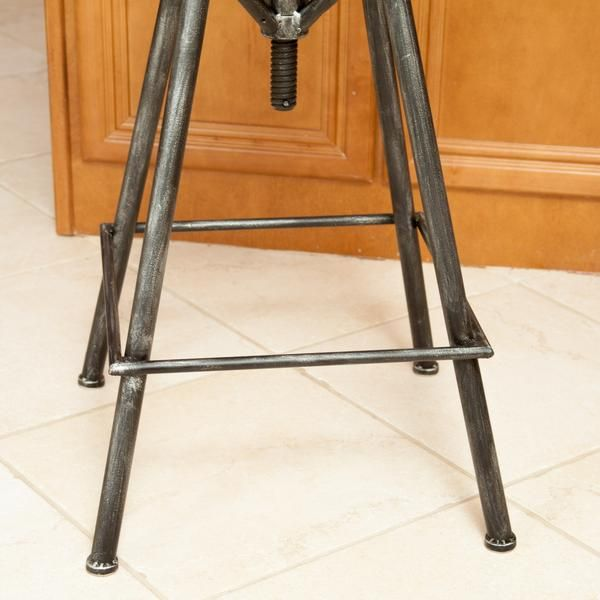 Charlie Industrial Metal Design Tractor Seat Bar Stool (Black Brushed Silver)