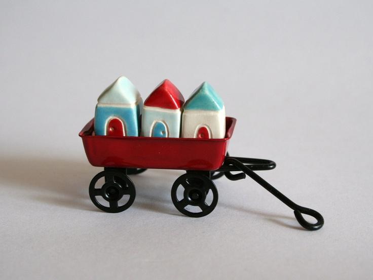 Teeny Weeny Little Red Door House Village - Set of 3