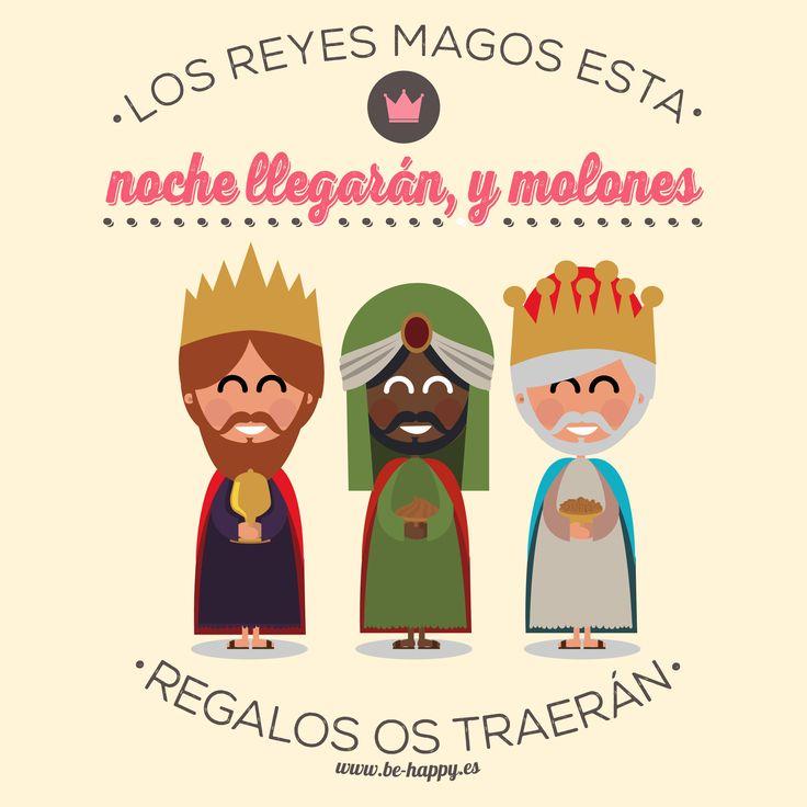 """""""Los Reyes Magos esta noche llegarán, y molones regalos os traerán"""". www.be-happy.es #frases #reflexiones #citas #pensamientos #laminas #illustration"""