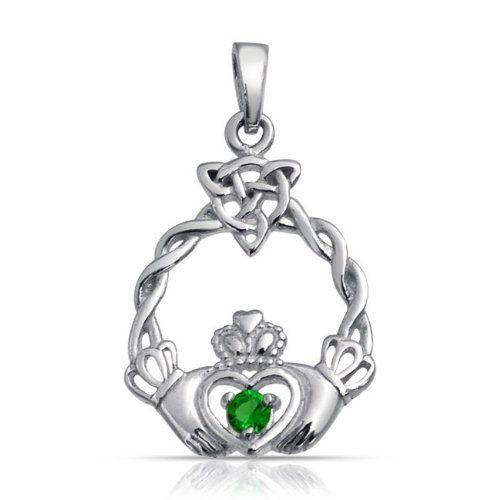 Bling Jewelry Celtic Knot Triquetra Emerald Color Heart Claddagh Pendant 925 Silver Bling Jewelry. $25.99. .925 Sterling Silver, Glass. Weighs 2.2 Grams. Celtic Knot Triquetra Claddagh Pendant. Pendant 1.15in L x 0.7in W. No Chain Included. Save 52%!