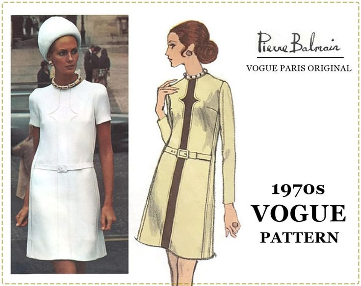 1970 Vogue Paris Original Sewing Pattern - Vogue 2360 Pattern - Pierre Balmain Design - One-Piece A-Line Dress - Size 14 Bust 36 UNCUT by EightMileVintageSews on Etsy