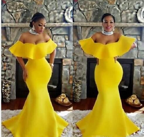 Plus Size Off Shoulder Prom Dresses Bright Yellow