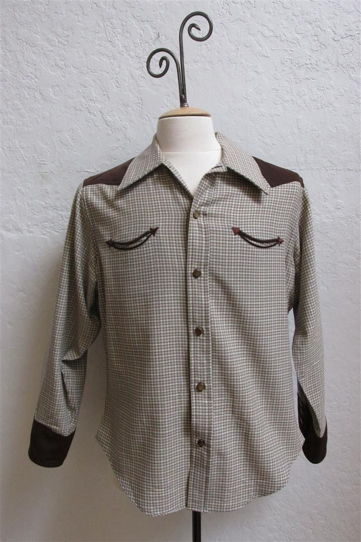 On Sale! 1940's Men's Handmade Wool Western Shirt / Size: 44