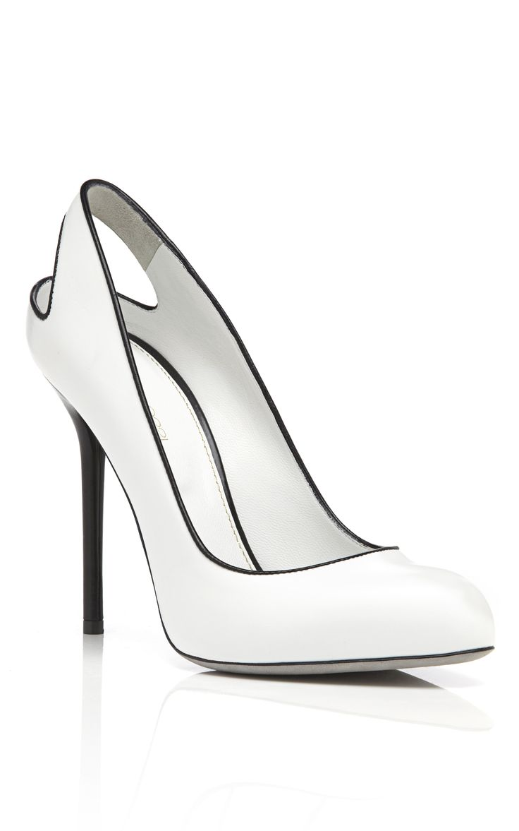 Sergio Rossi white patent pump with cut out heel and black piping