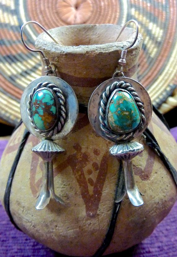 Vintage Navajo Sterling Silver Squash Blossom Dangle Earrings w Pretty Royston Turquoise Stones & Fluted Silver Saucer Beads. Just FABULOUS!