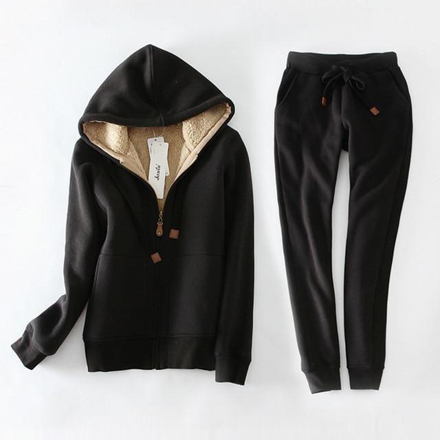 Autumn Winter Sweatshirt Women Plus Velvet Thick Hoodies Pants Women Two-Pieces Warm Fleece Jacket Tops Plus Size 3Xl C5156