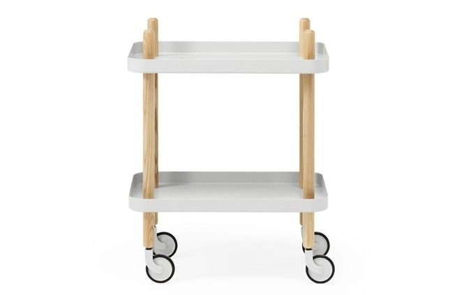 Block Table is a mobile #side table designed by Simon Legald for @normanncph made of steel, ash wood and rubber.