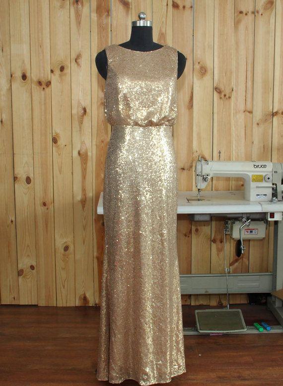 2016 luce dorata damigella d'onore abito lungo di Dressesall4you