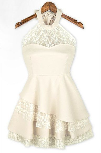 White Halter Contrast Lace Ruffles Chiffon Dress