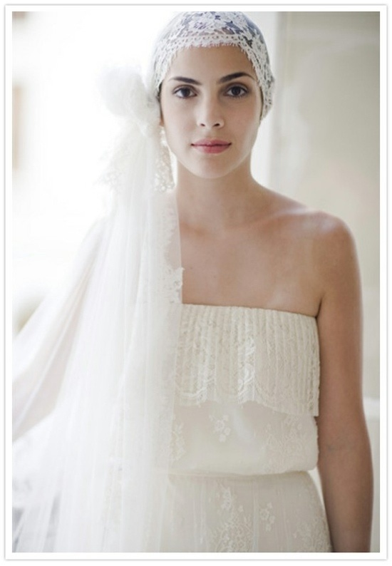 Head piece option for bride with short hair