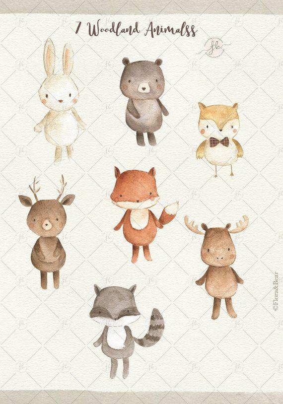 Woodland Animals Watercolor Clipart Digital Download Etsy Baby Animal Prints Watercolor Animals Woodland Animals