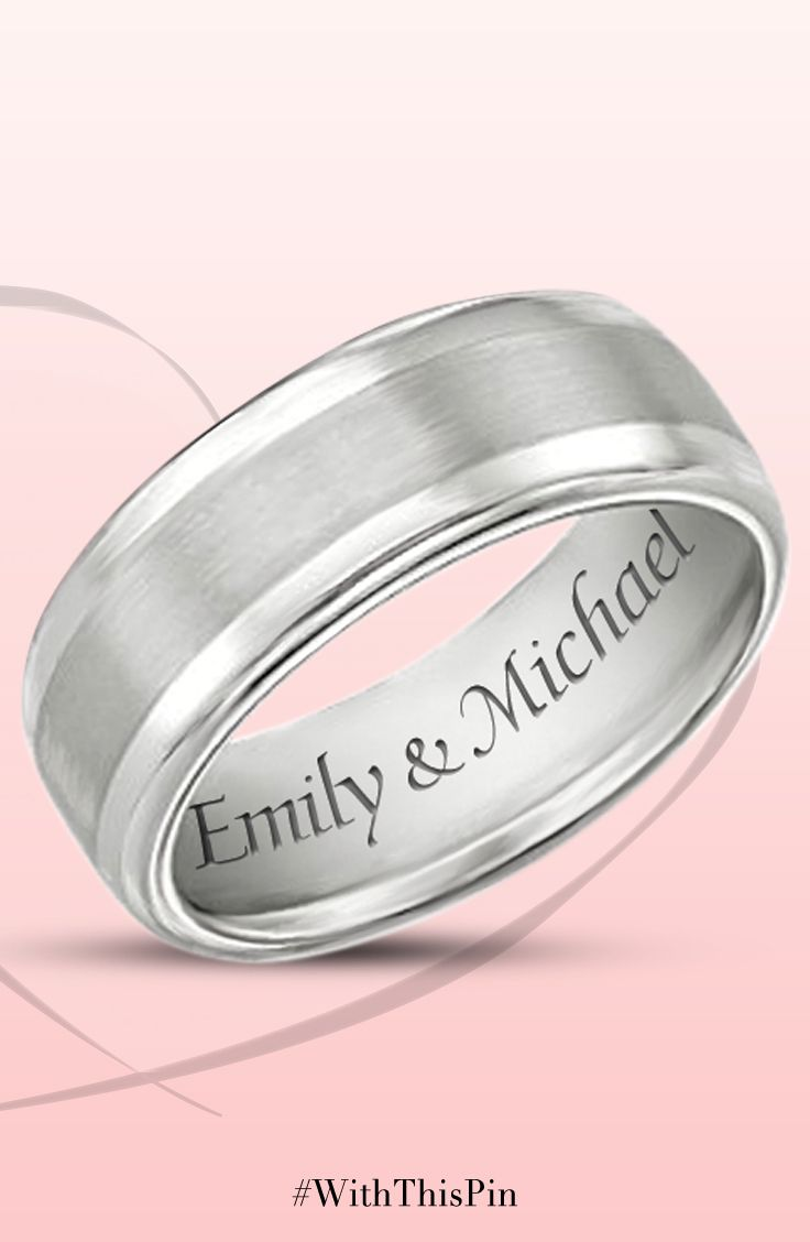 Handcrafted Tungsten Ring Celebrates Love Unique Weddingstyle Design And  A Brushed Metal Center