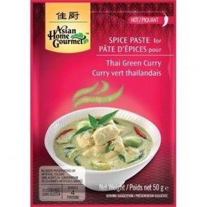 Pasta de Curry Verde Thai Asian Home Gourmet 50g #singluten y apto para veganos. Es un preparado de especias para hacer el curri verde tailandés.