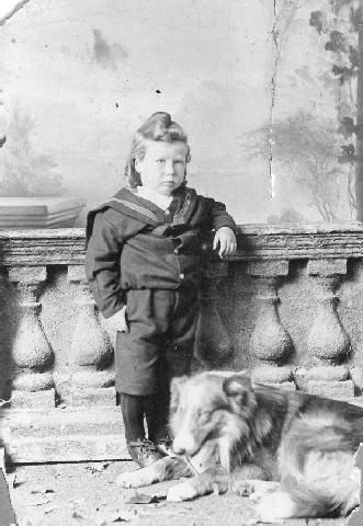 Portrait of an unidentified child with a dog  Samuel Carnell, photographer, gifted by Mrs McCormack, collection of Hawke's Bay Museums Trust, Ruawharo Tā-ū-rangi, 14023