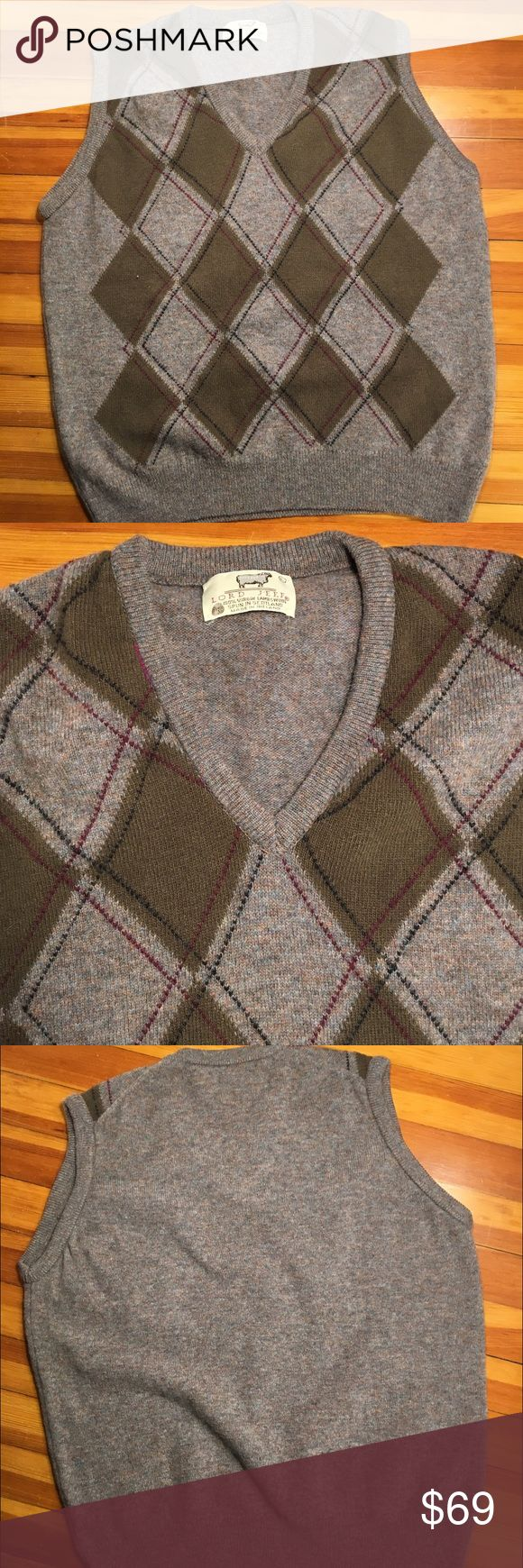 Lord Jeff 100% Virgin Lambswool Sweater Vest Vintage Men's Large Lord Jeff 100% Virgin Lambswool Argyle Sweater Vest in like new condition. Lord Jeff Sweaters V-Neck