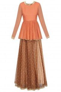 Orange Handcut Motifs Peplum Kedia Top With Ox Blood Printed Skirt