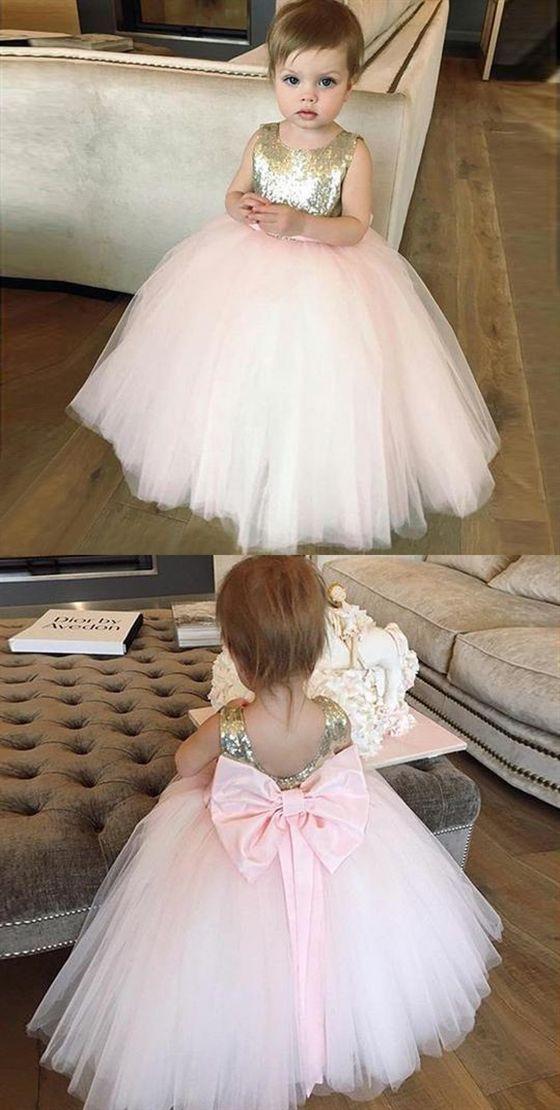 c0736fe20 Pink Sleeveless Backless Flower Girl Dresses A Line Tulle Little Girl  Dresses #flower #Pink