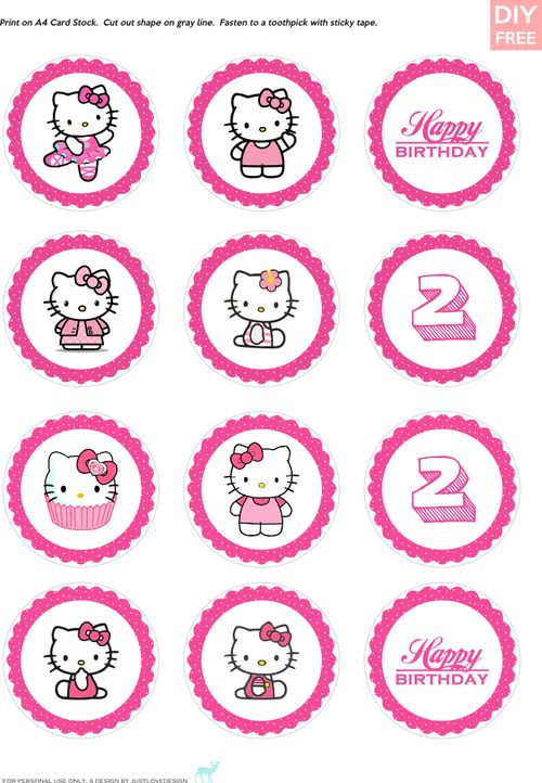DIY FREE Hello Kitty Cupcake Toppers - Download Hello Kitty Cake