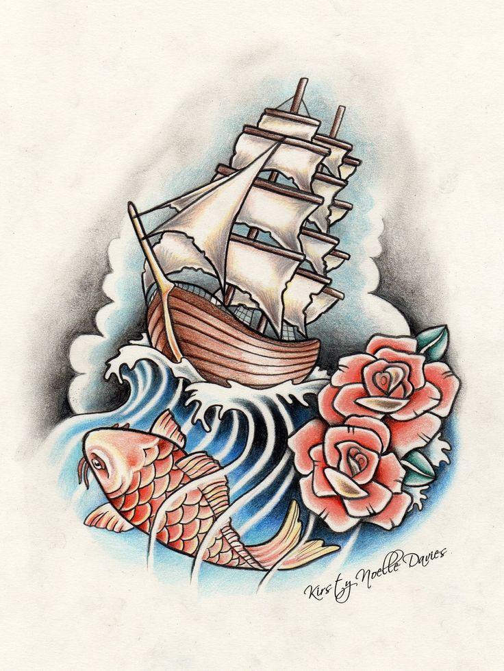 pirate_ship__rose_and_koi_fish_tattoo_design_by_kirstynoelledavies-d664vso.jpg…