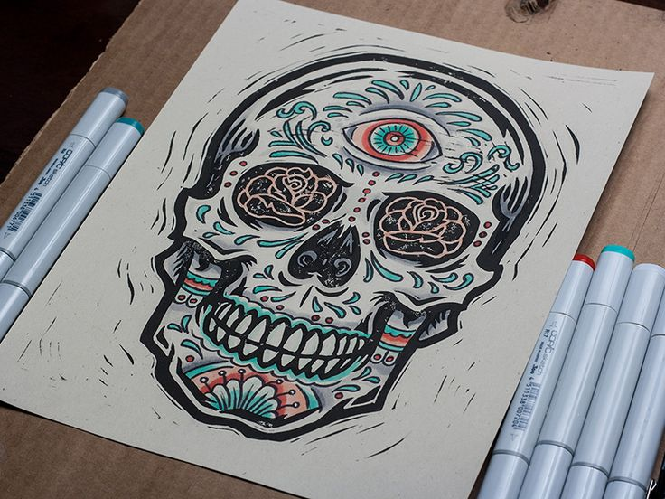 All Seeing - Sugar Skull - Block Print
