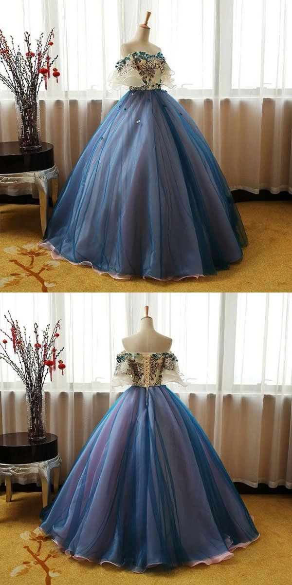 Elegant Off Shoulder Appliqued Ball Gown,A-Line Bl…