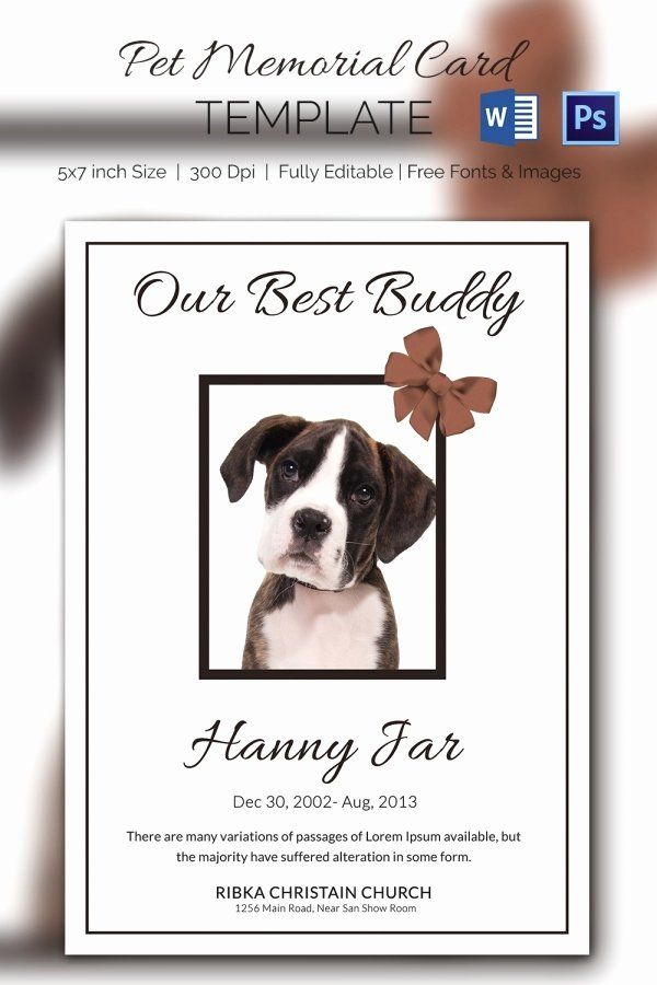 Memorial Cards For Funeral Template Free New 15 Pet Memorial Card Designs Templates Psd Ai Memorial Cards Memorial Cards For Funeral Card Templates Free